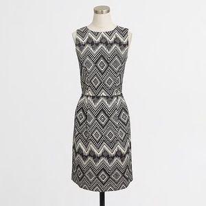 euc jcrew diamond print basketweave dress c1972
